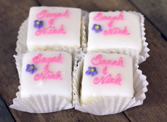 Cake Decoration Items Names : McEntyre s Bakery: Cake Squares with Scripted Name Decoration